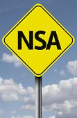 Sign on a sky background with the word NSA