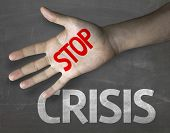 Creative composition with the message Stop Crisis