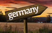 Germany wooden sign in a rural background