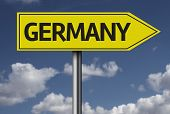 Concept for travel subject - Germany yellow sign