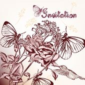 Decorative Background With Hand Drawn Flowers, Butterfliea And Bird.ai