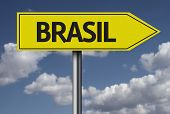 Concept for travel subject - Brasil yellow sign