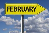 February sign and the sky as the background