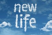 Amazing New Life text on clouds