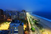 picture of ipanema  - Night view of Ipanema beach after sunset hotels buildings sea with fog from the sea on the background Rio de Janeiro Brazil - JPG