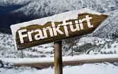 Frankfurt , Germany , Europe  wooden sign with a snow background