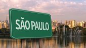 Amazing green sign of Sao Paulo City with Ibirapuera Park in the background , Brazil - South America
