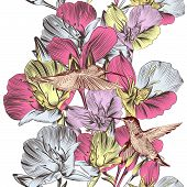 Floral Vector Seamless Background With Flowers And Birds
