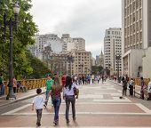 SAO PAULO, BRAZIL - MAY 29: Unidentified People walk in Santa Efigenia viaduct on May 29, 2013 in Sao Paulo, Brazil. Santa Ifigenia Viaduct is located in downtown with exclusive use for pedestrians.