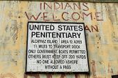 SAN FRANCISCO,CA - SEP 28: United States Penitentiary signs on Alcatraz on September 28, 2013. Alcatraz is best known as one of the world's most legendary prisons.