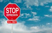 Stop Depression creative sign on a sky background