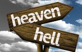 pic of hells angels  - Heaven x Hell creative sign with clouds as the background - JPG