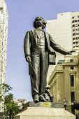 Antonio Carlos Gomes Statue the famous musician died in the 1836 in front of the Opera House, Rio de Janeiro, Brazil