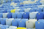 Colored Seating rows in a Maracana stadium with weathered chairs, Rio de Janeiro, Brazil - Latin America