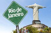 Rio de Janeiro Sign on the Redeemer statue - Corcovado, Brazil