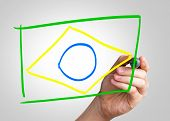 Brazilian Flag hand writing with a colorful mark on a transparent board