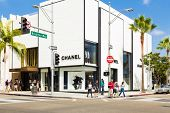 BEVERLY HILLS, CA - SEP 20: Chanel Store in Rodeo Drive in Beverly Hills on September 20, 2013. Rodeo Drive is an affluent shopping district known for designer label and haute couture fashion.