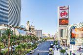 LAS VEGAS, USA - SEP 15: Famous Las Vegas Strip casinos on September 15, 2013 in Las Vegas. The Las Vegas Strip is an approximately 4.2-mile stretch of Las Vegas Boulevard in Clark County, Nevada.