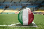 Italian soccer ball on the soccer field