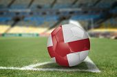 England soccer ball on the soccer field