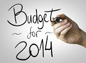 foto of reveillon  - Budget for 2014 hand writing with a black mark on a transparent board - JPG