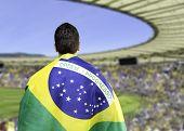 Brazilian holding a brazilian flag looks to the stadium