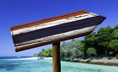 picture of bandeiras  - Thailand wooden sign with a beach on background  - JPG