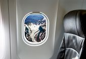 Andes Mountains, Chile in the aircraft's porthole