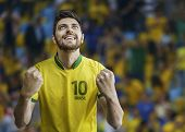 Brazilian man celebrates on the arena background