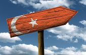 Wooden Turkish sign on a wonderful day