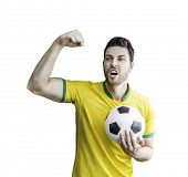 Brazilian soccer player celebrating on white background