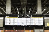 SAO PAULO, BRAZIL - CIRCA MARCH 2014 - Big Termianl at the International Guarulhos Airport in Sao Paulo, Brazil