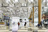 SINGAPORE - CIRCA MAY 2014 : Changi International Airport in Singapore. Changi Airport serves more than 100 airlines operating 6,100 weekly flights connecting Singapore to over 220 cities