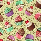 Cupcake pattern, beige