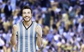 Argentine soccer player celebrates on the stadium