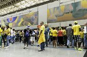SAO PAULO, BRAZIL - JUNE 12, 2014: Supporters go to Arena Sao Paulo for the first game of the the Brazilian World Cup 2014 (Brazil x Croatia).