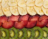 the background with kiwi, plum and banana