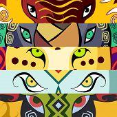 Animal eyes. Elephant, rhino, leopard, lion, buffalo. African style.