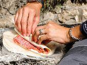 Salami Pitta Bread Sandwich Beeing Prepared.
