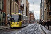 Metrolink tram on Mosley Street, Manchester