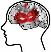 Profile with visible brain and red mask.