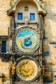 Astronomical Clock In Prague, Czech Republic. Close Up Photo