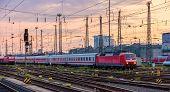 German Trains In Frankfurt (main) Hauptbahnhof Station, Hesse