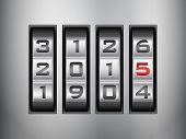 image of combination lock  - Metallic combination lock 2015 New Year - JPG