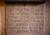 Inscription On The Wall In Sedlec Ossuary (kostnice), Kutna Hora, Czech Republic
