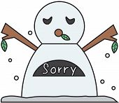 vector winter snowman face cartoon emotion expression regret