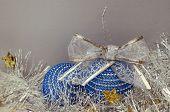 Blue Christmas Balls And Tinsel