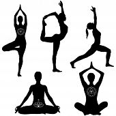 Yoga poses black silhouettes