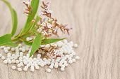 Homeopathic Granules Scattered On A Wooden Table