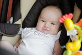 Little Two Month Old Baby In A Car Seat